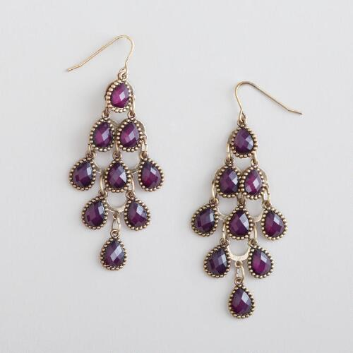 Purple Crystal Tiered Chandelier Earrings