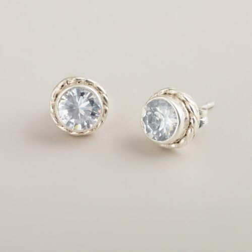 Round Cubic Zirconia Silver Stud Earrings