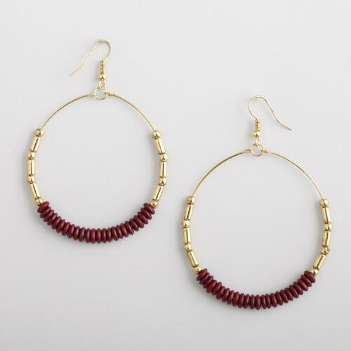 Large Burgundy Beaded Gold Hoop Earrings