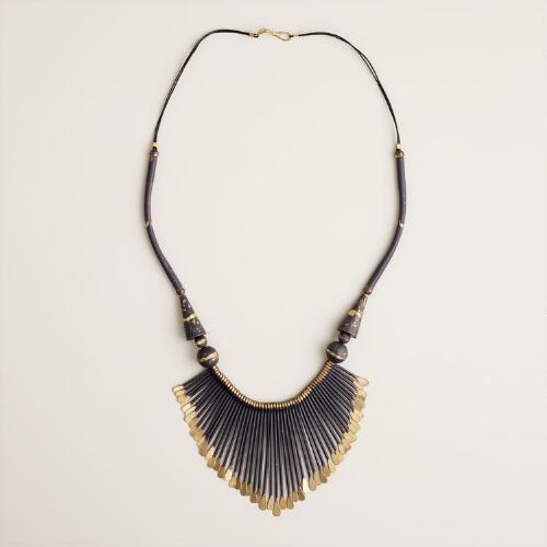 Navy and Gold Fan Necklace
