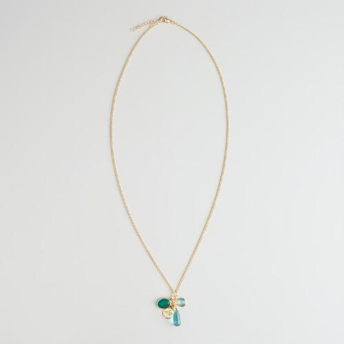 Gold With Green Charms Pendant Necklace
