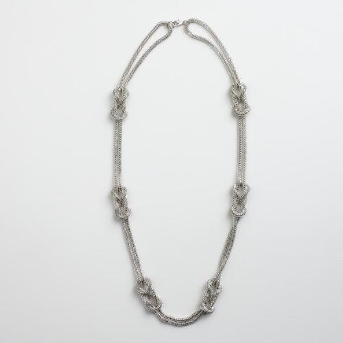 Silver Mesh-Knot Necklace