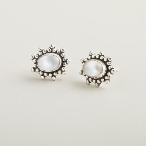 Oval Fresh Water Pearl Stud Earrings