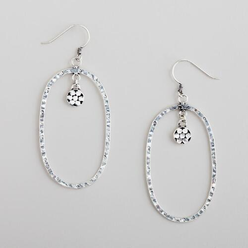 Silver Flower Drop Hoop Earrings