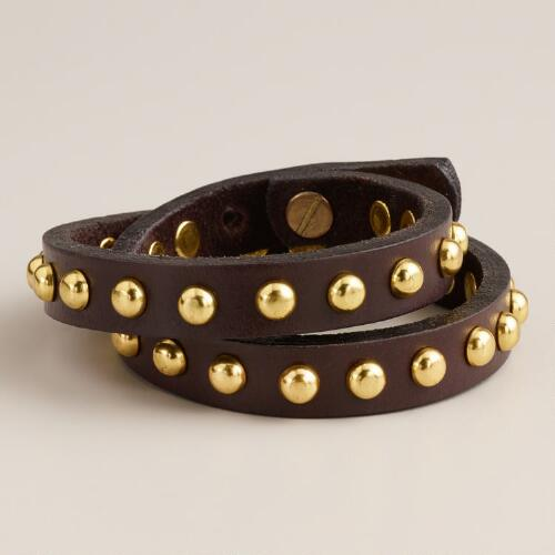 Brown Leather Stud Wrap Bracelet