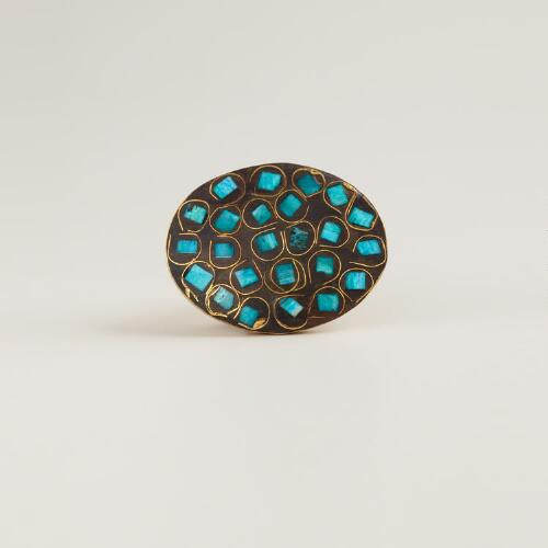 Adjustable Gold and Turquoise Oval Ring
