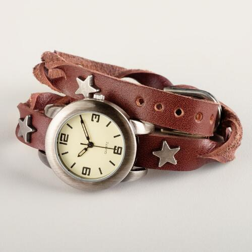 Star Braided Leather Wrap Watch