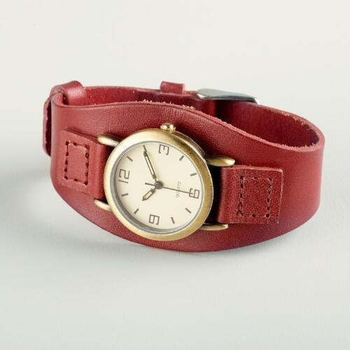 Red Leather Wide Band Watch