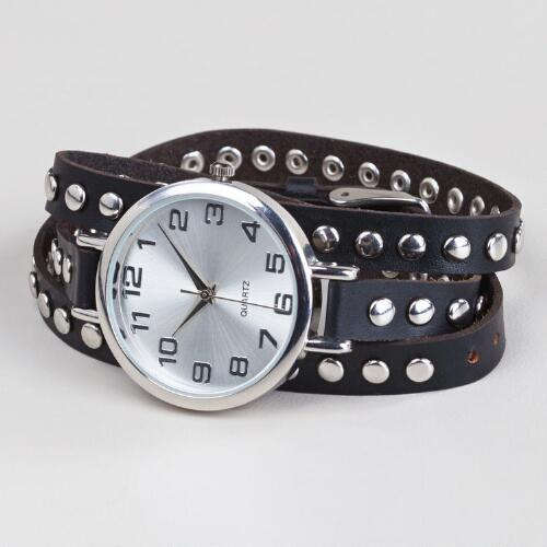 Gray Leather Stud Watch