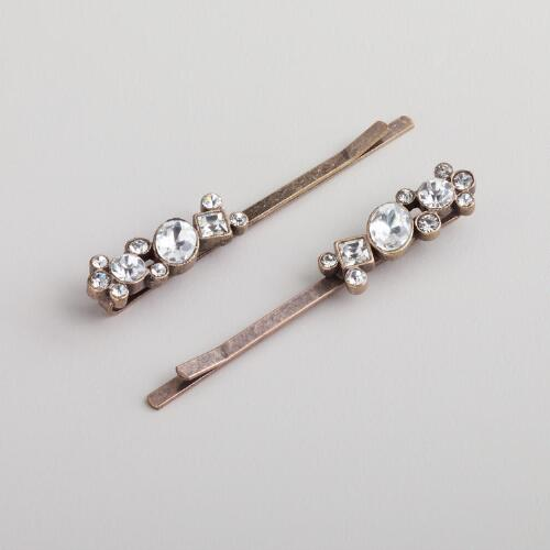 Vintage-Gold Crystal Hairpins, Set of 2