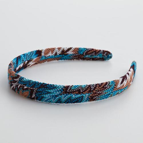 Blue Flame Stitch Knit Headband