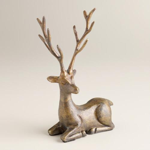 Antique-Gold Stag Antler Jewelry Stand