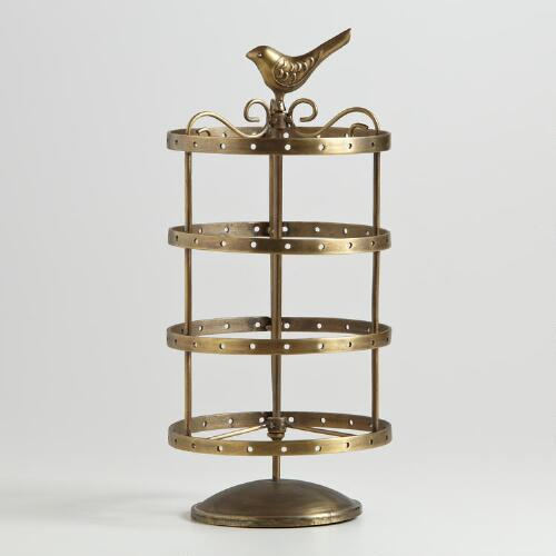 Antique-Gold Spinning Bird Earring Holder