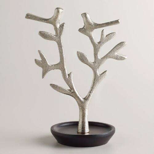Pewter and Wood Tree Bird Jewelry Stand
