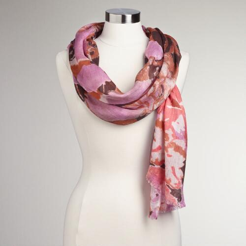 Coral and Pink Abstract Floral Scarf