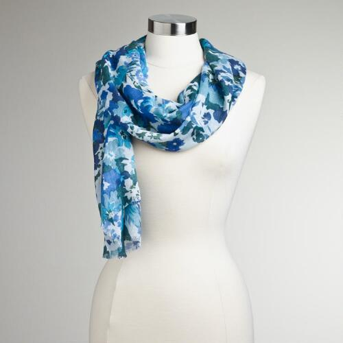 Blue Floral Frayed Scarf