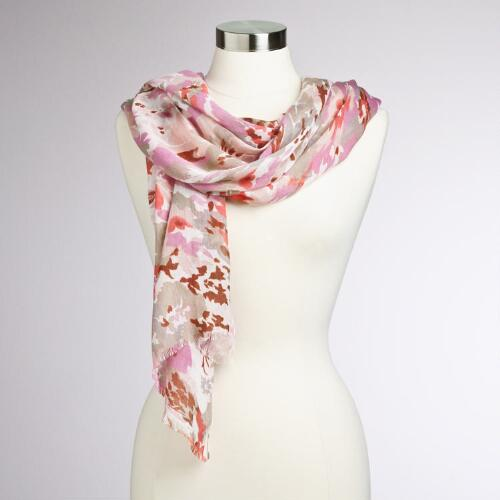 Pink Floral Frayed Scarf