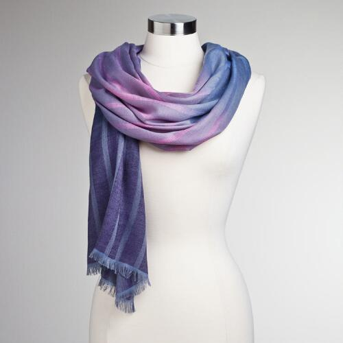 Pink and Gray Ombre Stripe Scarf