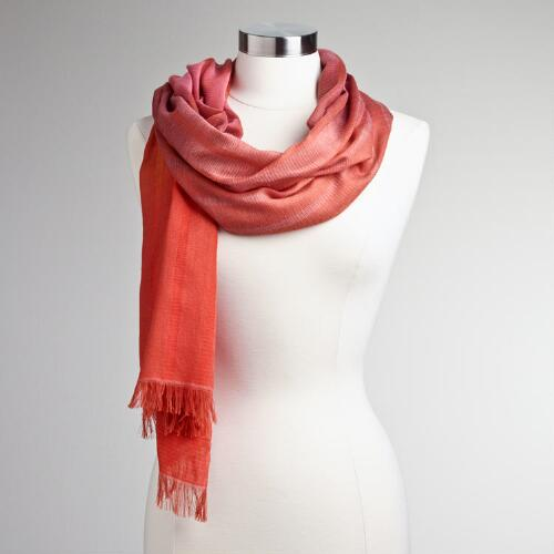Orange Ombre Stripe Scarf