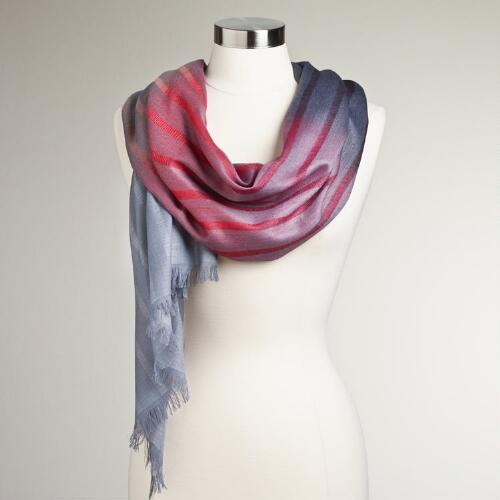 Red and Gray Ombre Stripe Scarf