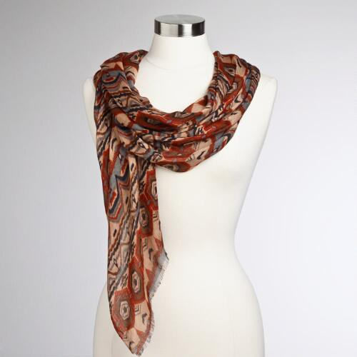 Orange and Brown Tribal Ikat Scarf