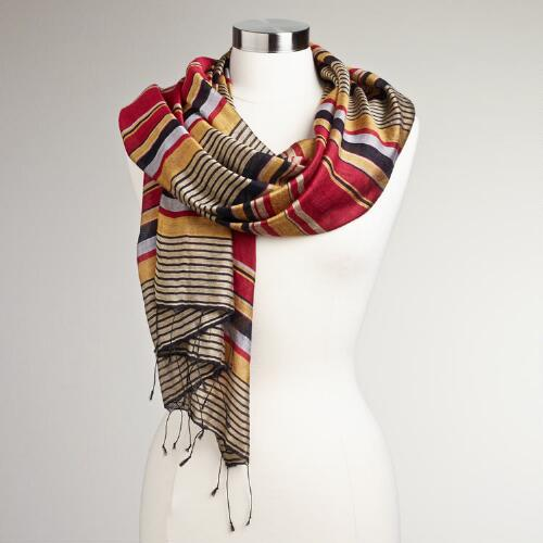 Amber, Black and Red Stripe Scarf