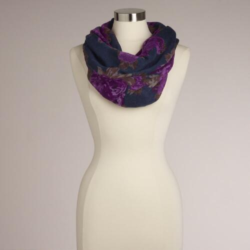 Blue and Purple Rose Infinity Scarf