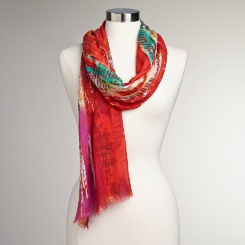 Orange Tie-Dye Scarf