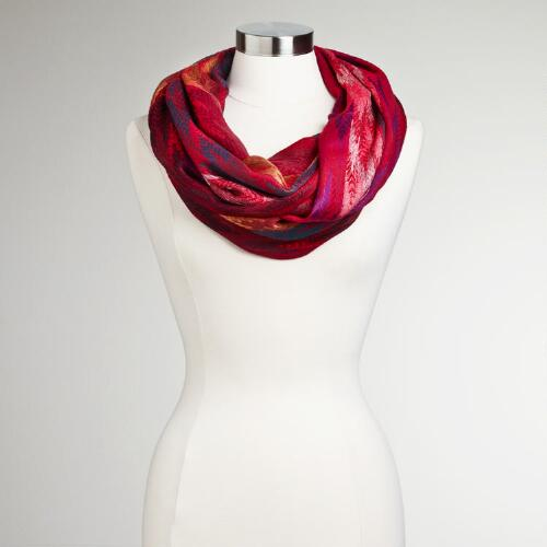 Red Jacquard Arrow Infinity Scarf