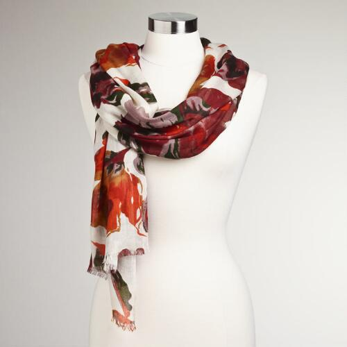 Large Floral Autumnal Scarf