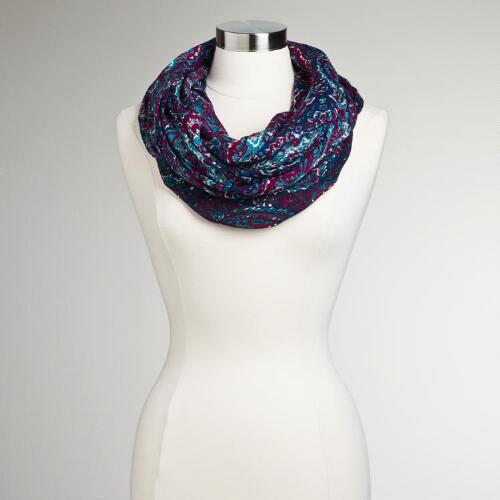 Gray and Teal Paisley Infinity Scarf