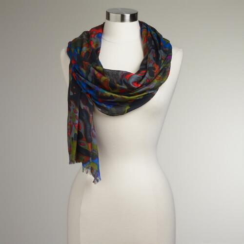 Green and Gray Abstract Watercolor Scarf