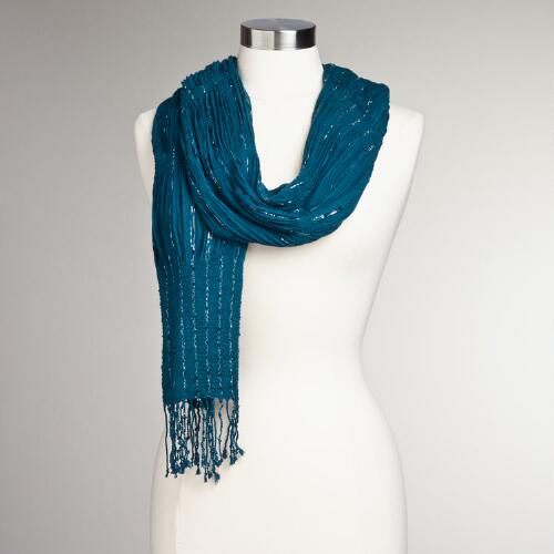Teal Lurex Gathered Scarf