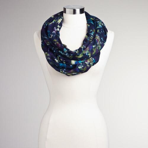 Black Abstract Muted Infinity Scarf
