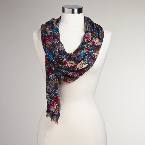 Black Painted Floral Scarf