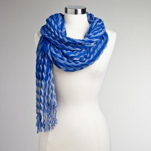 Blue and White Pleated Arrow Scarf