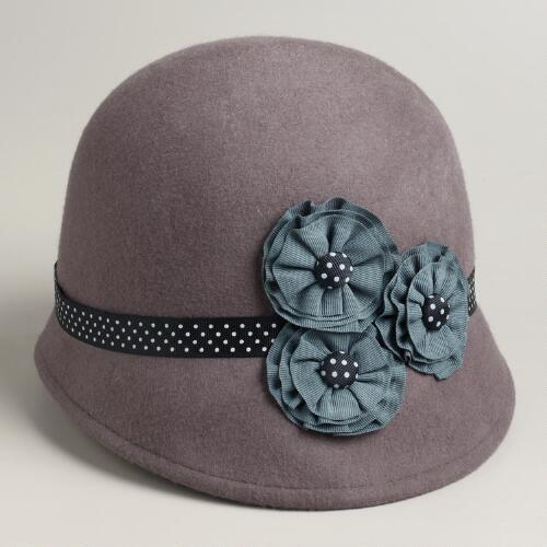 Dark Gray Three Flower Cloche