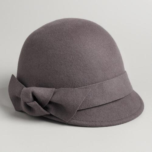 Gray Felt Bow Cadet Cloche