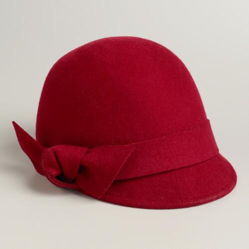 Red Felt Bow Cadet Cloche