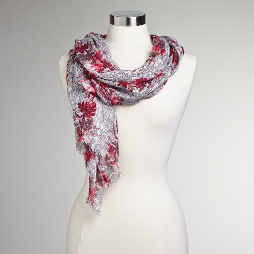 Gray and Pink Scrolling Floral Scarf