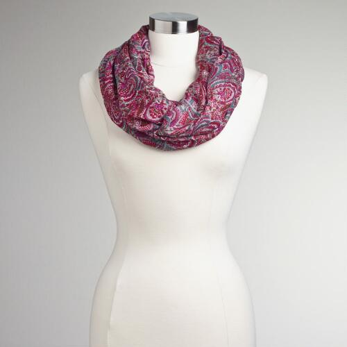 Gray and Pink Paisley Infinity Scarf