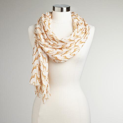 Ivory and Camel Giraffe Scarf