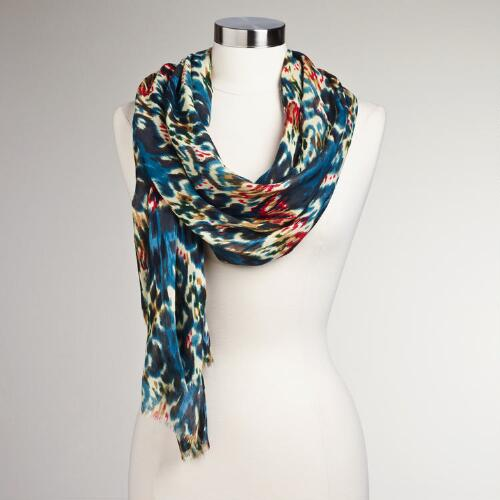Ivory, Blue and Red Ikat Scarf