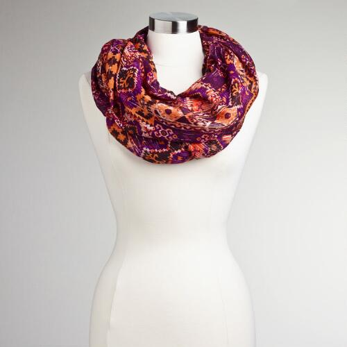 Orange and Purple Tribal Infinity Scarf