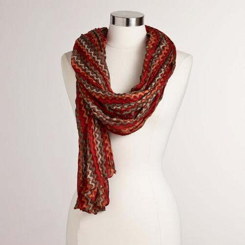 Red and Neutral Zigzag Crinkle Scarf