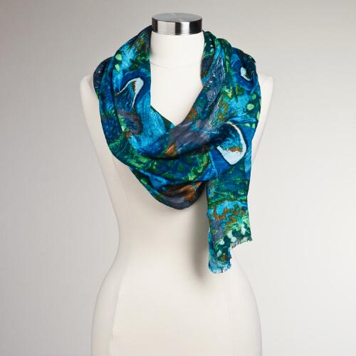 Teal Feather Print Scarf