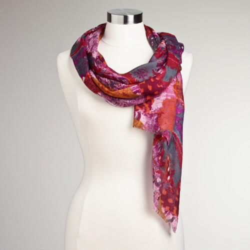 Purple and Orange Feather Print Scarf