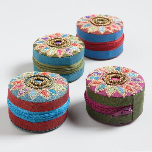 Round Embroidered Sari Coin Purses