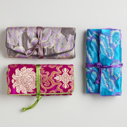 Brocade Chinois Roll-Up Jewelry Bags