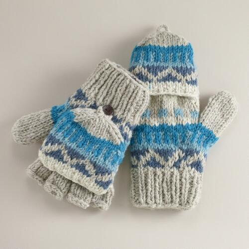 Teal Fairisle Wool Glittens